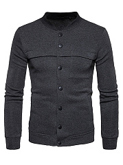 Band Collar  Single Breasted  Plain Men Jacket