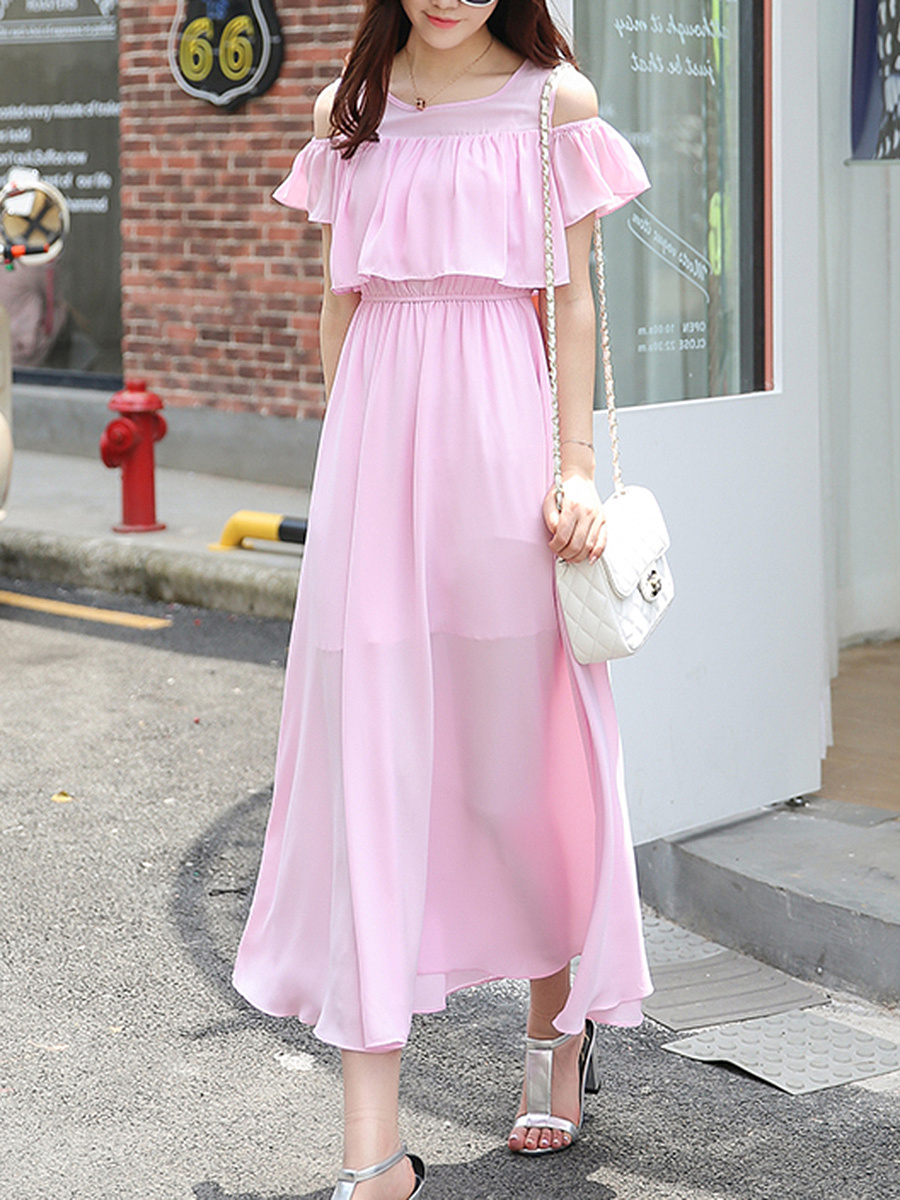 Open Shoulder Flounce Plain Elastic Waist Chiffon Maxi Dress