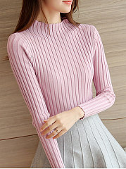 High-Neck-Plain-Vertical-Striped-Sweater