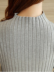 High Neck  Plain Vertical Striped Sweater