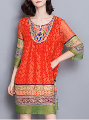 Round-Neck-Beading-Color-Block-Shift-Dress