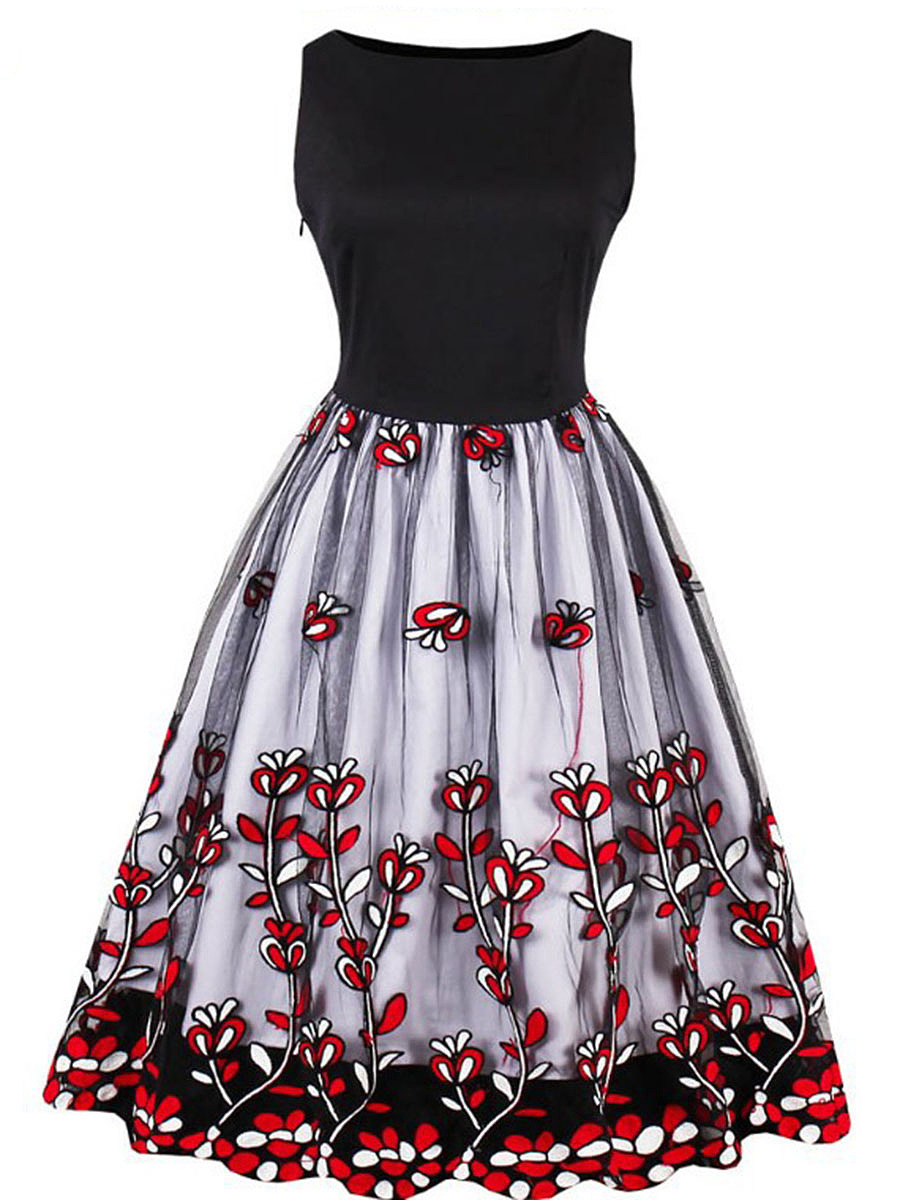 Round Neck  See-Through  Applique  Polyester Skater Dress