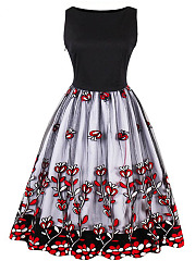 Round-Neck-See-Through-Applique-Polyester-Skater-Dress