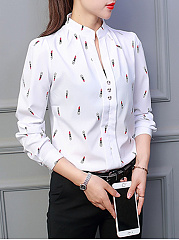 Autumn Spring  Polyester  Women  V-Neck  Decorative Button  Cartoon  Long Sleeve Blouses