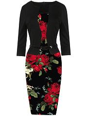 Elegant-Belt-Floral-Printed-Bodycon-Dress