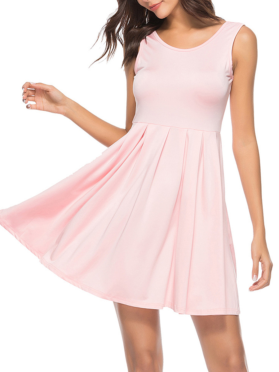 Basic Round Neck Inverted Pleat Plain Skater Dress