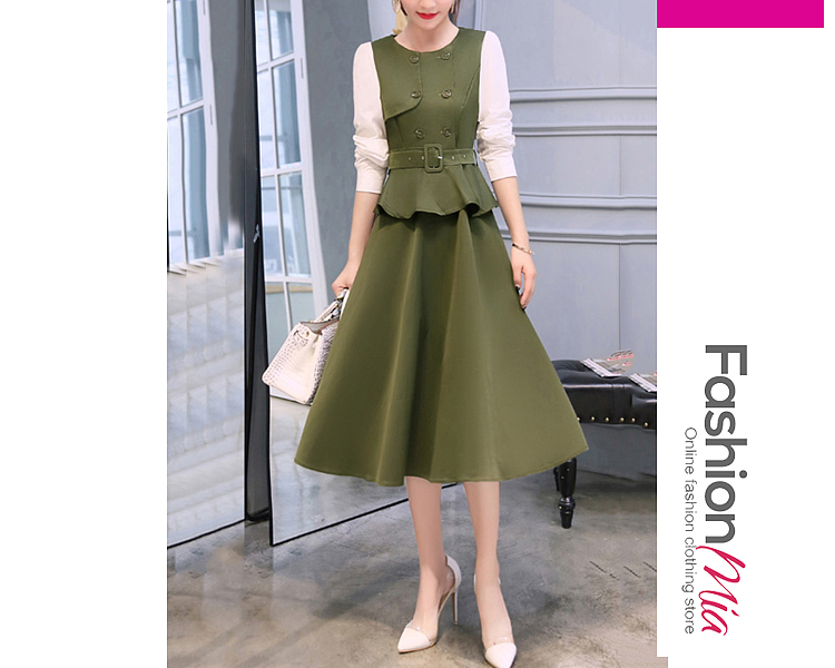 style:fashion, material:polyester, collar&neckline:round neck, sleeve:long sleeve, more_details:belt, pattern_type:plain, length:calf-length, how_to_wash:cold gentle machine wash, supplementary_matters:all dimensions are measured manually with a deviation of 2 to 4cm., occasion:office, season:autumn,winter, dress_silhouette:empire line, package_included:dress*1, lengthshouldersleeve lengthbustwaist