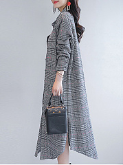 Fold-Over Collar  Single Breasted  Plaid  Long Sleeve Trench Coats