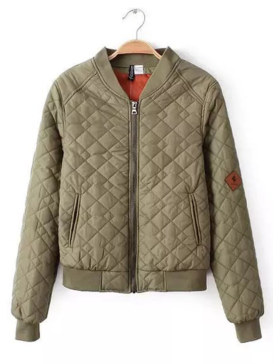 Band Collar Pocket Quilted Plain Paddded Jacket