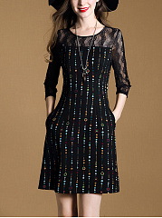 Round Neck Printed See-Through Shift Dress