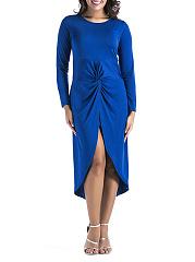 Round-Neck-Asymmetric-Hem-High-Slit-Ruched-Plain-Maxi-Dress
