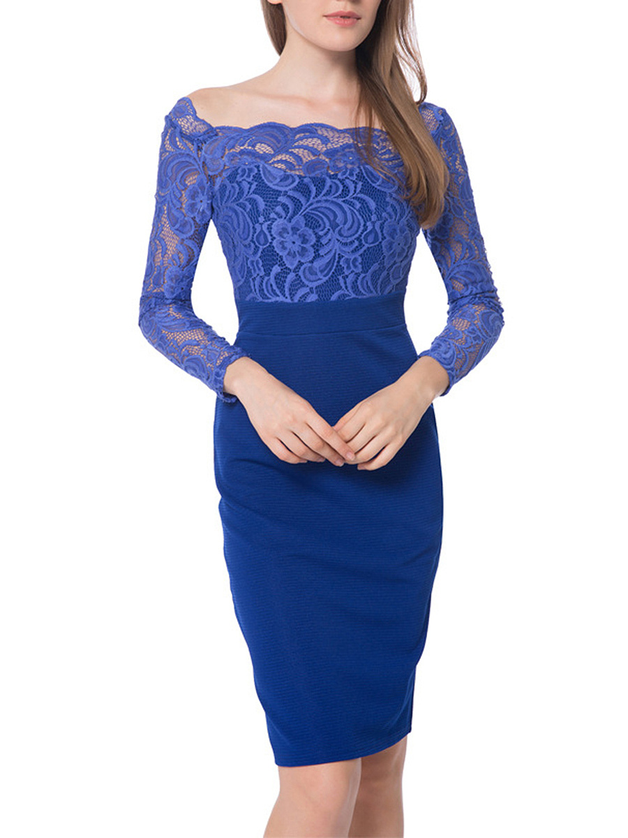 Boat Neck Lace Hollow Out Plain Bodycon Dress