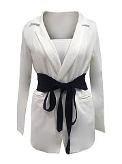 Fold-Over-Collar-Belt-Plain-Long-Sleeve-Blazers