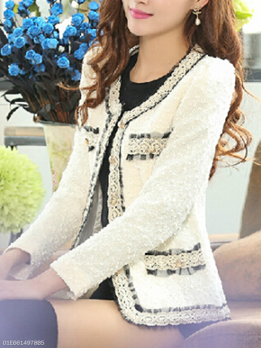 Collarless  Decorative Lace Single Breasted  Long Sleeve Blazers
