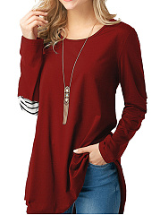 Autumn Spring  Polyester  Women  Round Neck  Asymmetric Hem Patchwork Single Breasted  Plain Long Sleeve T-Shirts