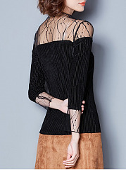 Patchwork See Through  Plain Long Sleeve T-Shirts