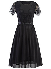 Round Neck Decorative Lace Hollow Out Plain Skater Dress