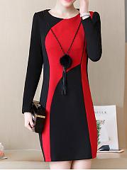 Round-Neck-Color-Block-Blend-Bodycon-Dress