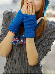 Classical Screen Touch Half Fingerless Gloves Knitted Pineapple Wrist Gloves