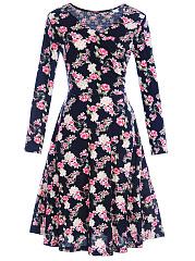 V-Neck-Floral-Printed-Fabulous-Skater-Dress