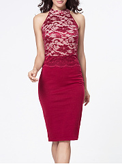 Band-Collar-Decorative-Lace-Patchwork-Bodycon-Dress