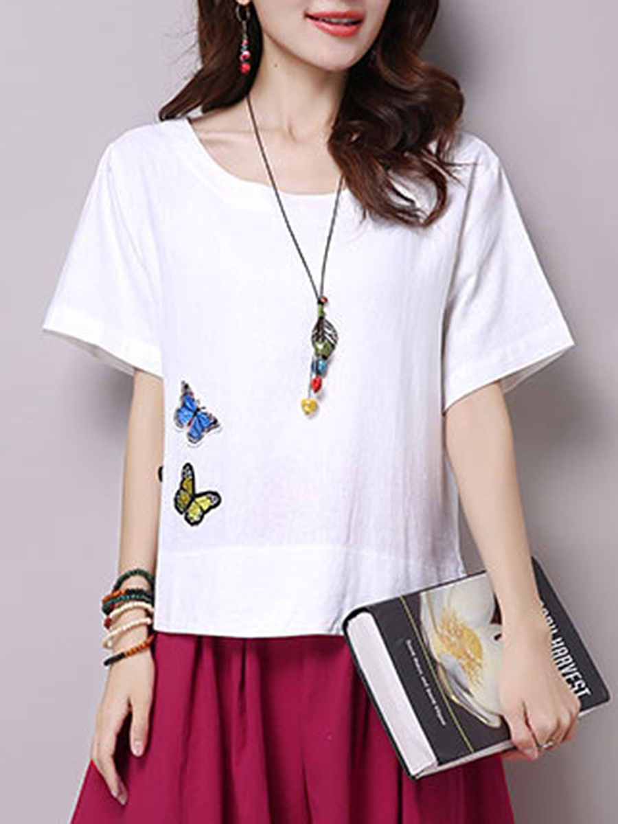 Delightful Round Neck Embroidery Plain Short Sleeve T-Shirt