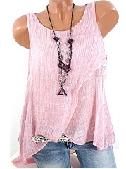 Autumn Spring Summer  Organza Polyester  Women  Round Neck  Plain Sleeveless T-Shirts