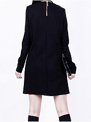 Round Neck Patchwork Zips Plain Shift Dress