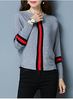 Boat Neck  Striped  Batwing Sleeve Sweater