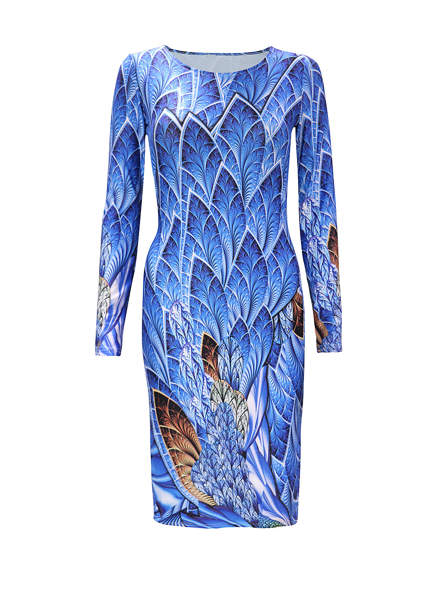Stylish Printed Long Sleeve Round Neck Bodycon Dress