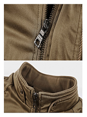 Band Collar Fleece Lined Zips Pocket Men Jacket