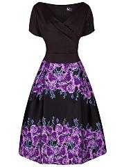 Vintage-V-Neck-Floral-Printed-Short-Sleeve-Skater-Dress
