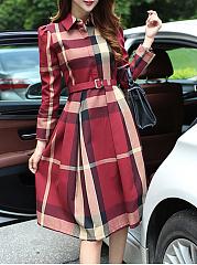 Turn-Down-Collar-Plaid-Belt-Swing-Maxi-Dress