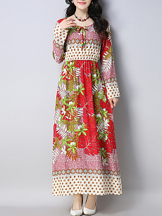 Tie Collar  Elastic Waist  Printed  Chiffon Maxi Dress