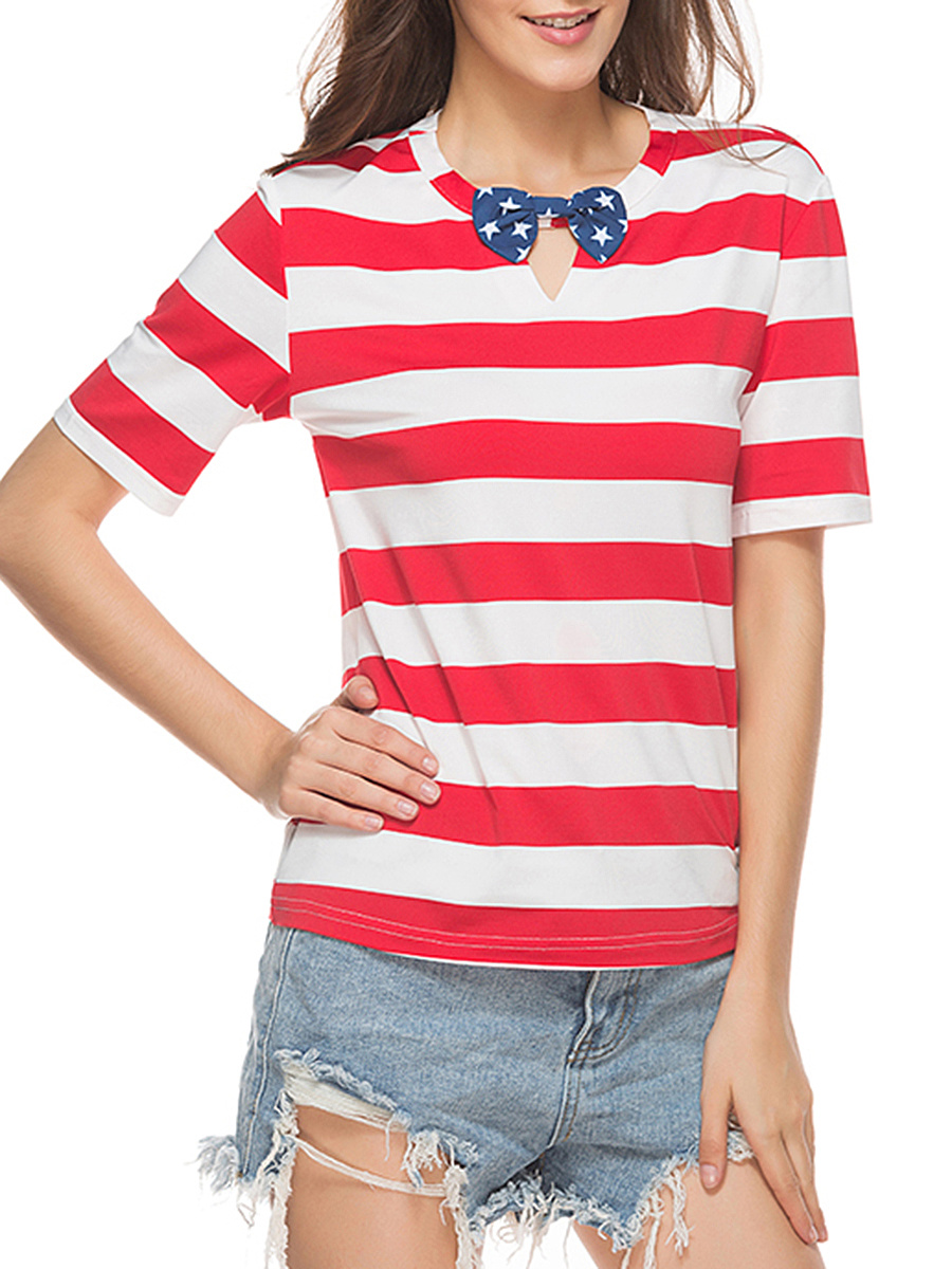 Lovely Bowknot Keyhole Striped Short Sleeve T-Shirt