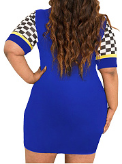 Round Neck  Patchwork  Color Block Plus Size Bodycon Dress