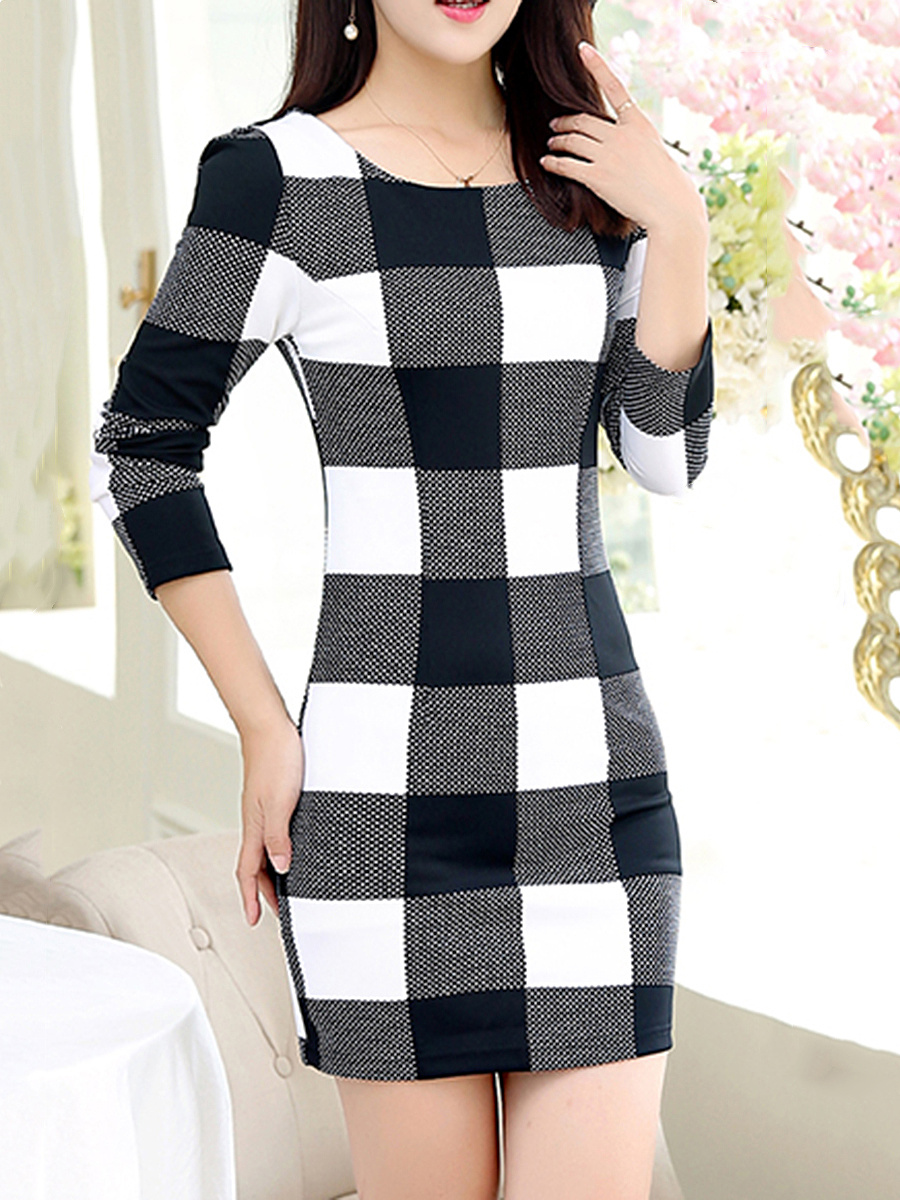 Round Neck Color Block Plaid Mini Bodycon Dress