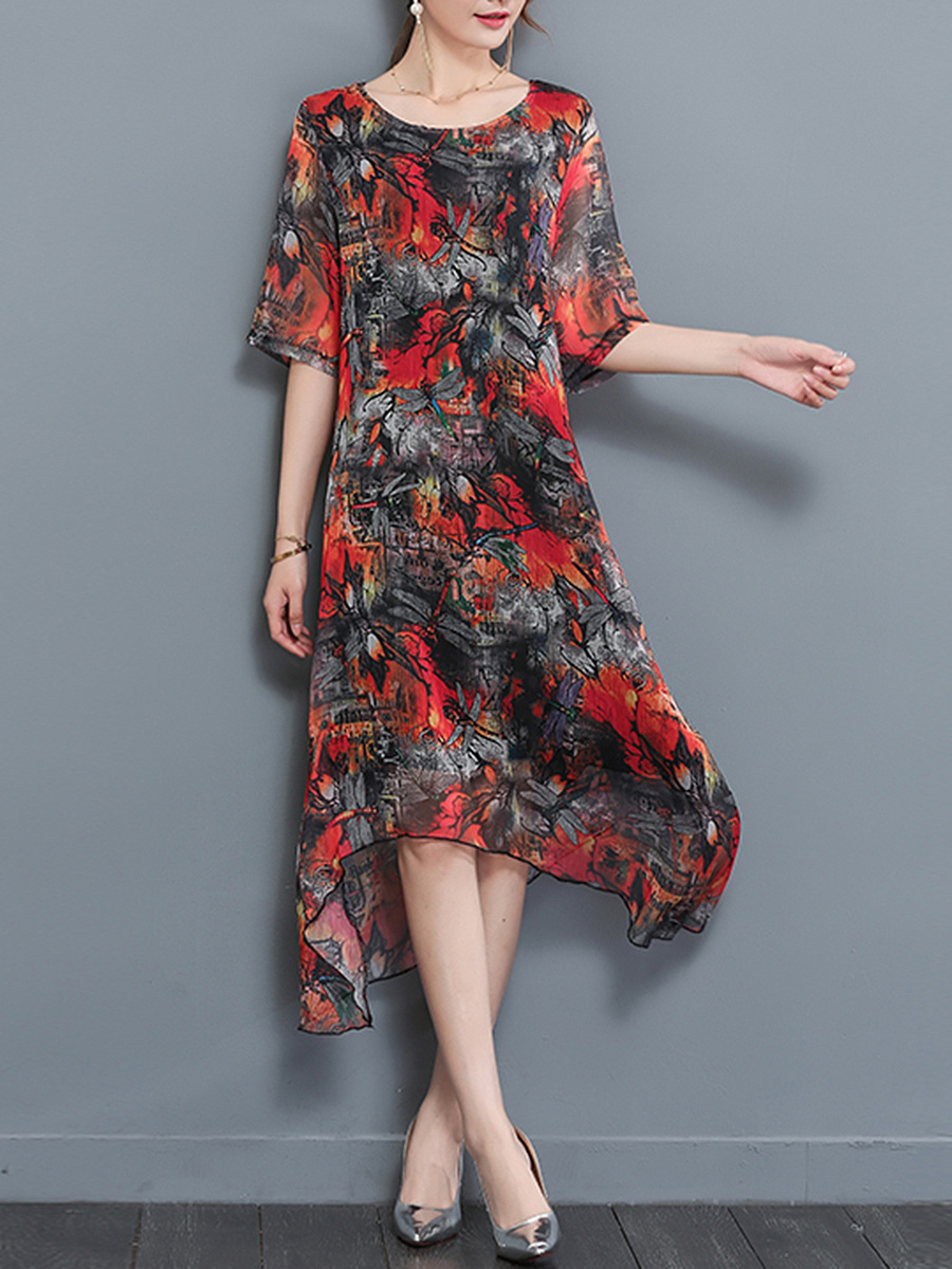 Round Neck  Asymmetric Hem  Printed Loose Maxi Dress