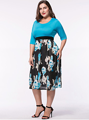 Floral Printed Half Sleeve Plus Size Flared Dress
