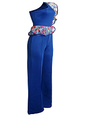 One Shoulder Flounce Embroidery Wide-Leg Jumpsuit