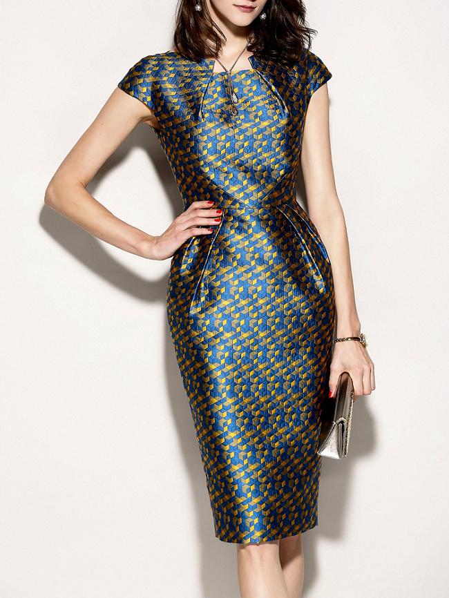 Image of Fashionmia Asymmetric Neck Abstract Print Printed Bodycon Dress