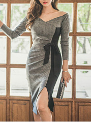 V Neck  Bowknot Patchwork Slit  Color Block Bodycon Dresses