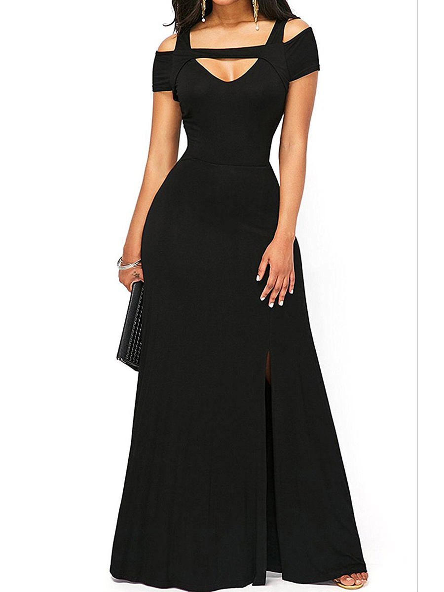 Open Shoulder Cutout High Slit Plain Maxi Dress