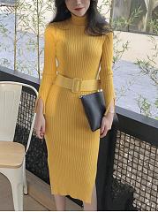 High-Neck-Belt-Plain-Knitted-Bodycon-Dress