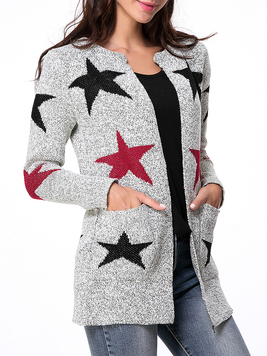 Collarless  Patch Pocket  Star Cardigans