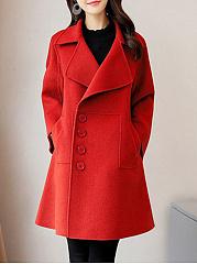 Lapel-Single-Breasted-Slit-Pocket-Plain-Long-Sleeve-Woolen-Coat