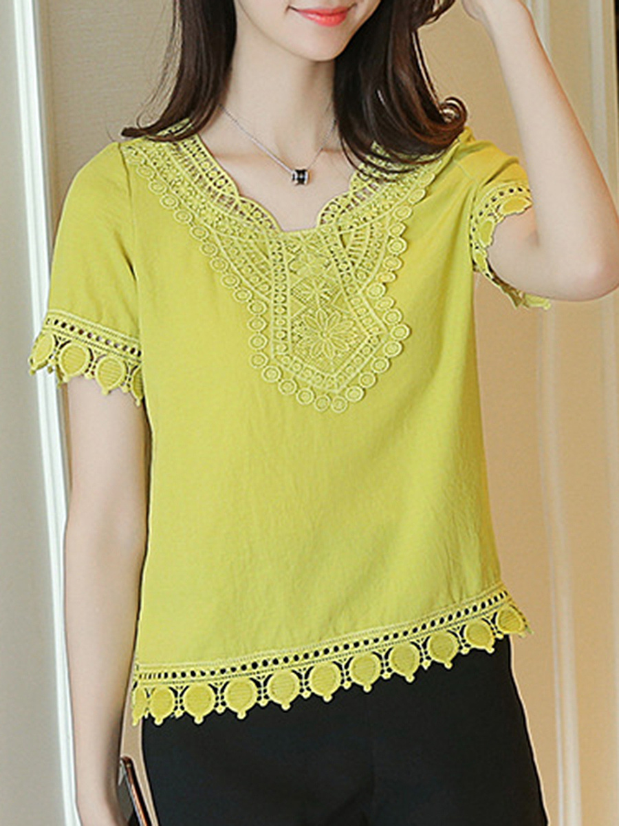 Decorative Lace Solid Short Sleeve T-Shirt