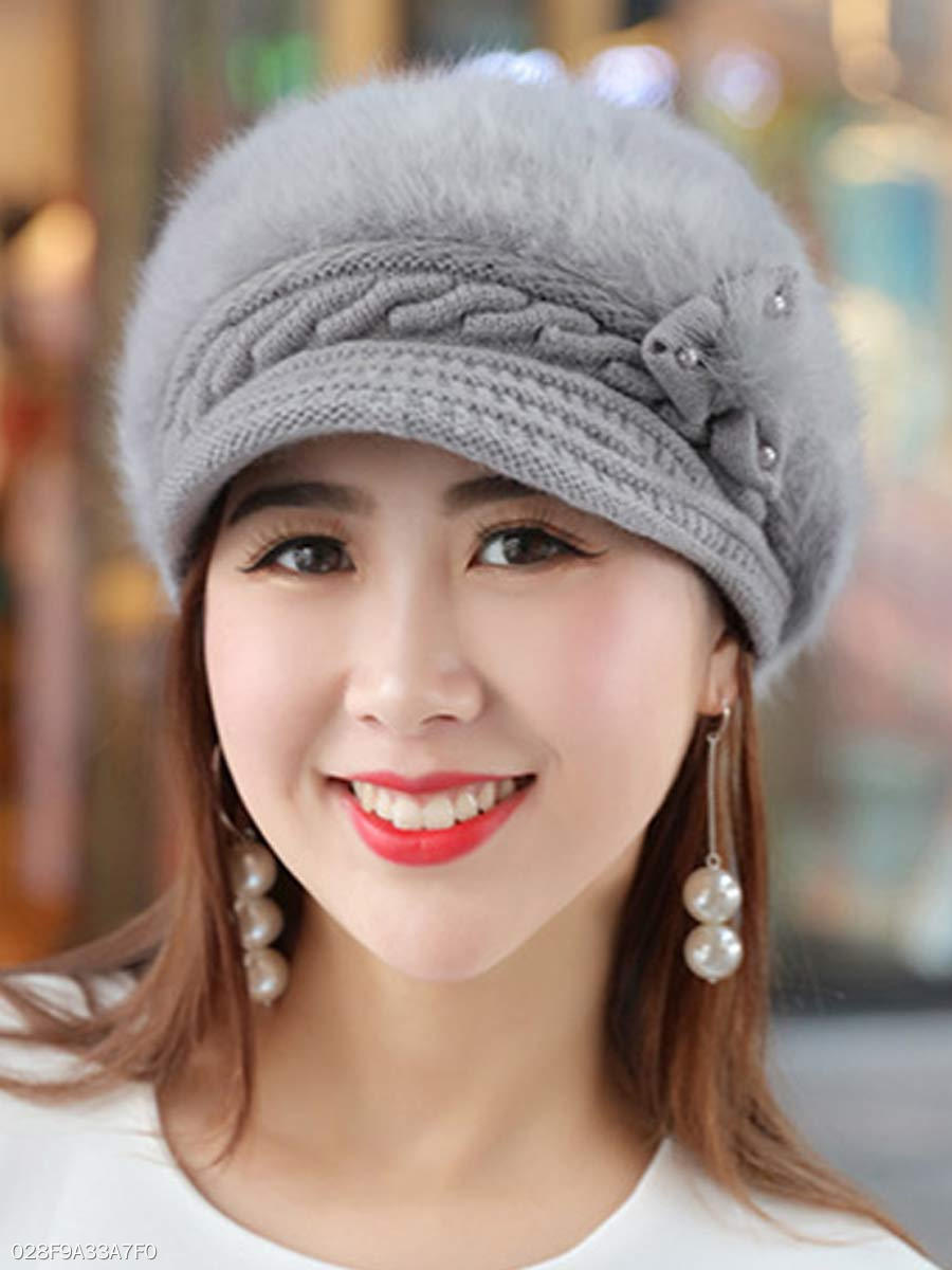 Winter Warm Faux Leather Crochet Plain Cotton Thick Hats