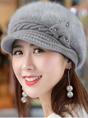 Winter-Warm-Faux-Leather-Crochet-Plain-Cotton-Thick-Hats