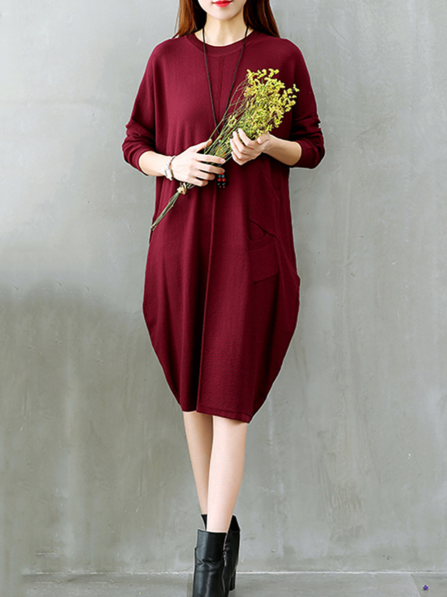 Plain Round Neck Patch Pocket Knitted Maxi Dress